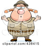 Royalty Free RF Clipart Illustration Of A Plump Female Safari Ranger Shrugging by Cory Thoman