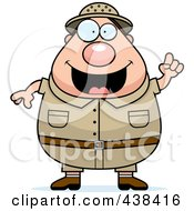 Royalty Free RF Clipart Illustration Of A Plump Male Safari Ranger With An Idea by Cory Thoman