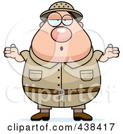 Royalty Free RF Clipart Illustration Of A Plump Male Safari Ranger Shrugging by Cory Thoman