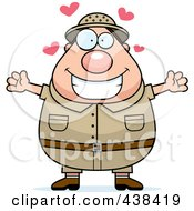 Royalty Free RF Clipart Illustration Of A Plump Male Safari Ranger With Open Arms by Cory Thoman