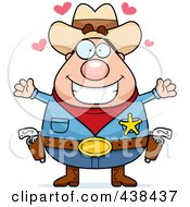 Royalty Free RF Clipart Illustration Of A Plump Cowboy Sheriff With Open Arms