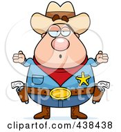 Royalty Free RF Clipart Illustration Of A Plump Cowboy Sheriff Shrugging