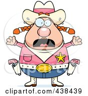 Royalty Free RF Clipart Illustration Of A Fearful Plump Female Sheriff by Cory Thoman