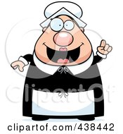 Royalty Free RF Clipart Illustration Of A Plump Female Pilgrim With An Idea