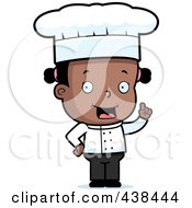 Royalty Free RF Clipart Illustration Of A Black Toddler Girl Chef With An Idea
