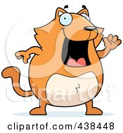 Royalty Free RF Clipart Illustration Of A Chubby Orange Cat Waving