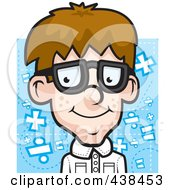 Royalty Free RF Clipart Illustration Of A Nerdy Boy Over Blue by Cory Thoman