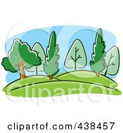Royalty Free RF Clipart Illustration Of A Hilly Landscape With Trees by Cory Thoman