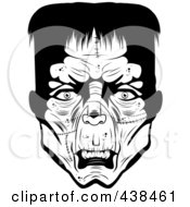 Royalty Free RF Clipart Illustration Of A Black And White Frankenstein Head
