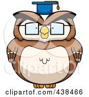 Royalty Free RF Clipart Illustration Of A Chubby Owl Professor by Cory Thoman
