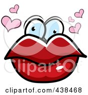 Royalty Free RF Clipart Illustration Of A Pair Of Lips With Eyes And Hearts by Cory Thoman