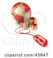 Clipart Illustration Of A Computer Mouse Connected To A Globe Featuring The Atlantic With Gold Presents