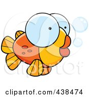 Royalty Free RF Clipart Illustration Of A Big Eyed Goldfish by Cory Thoman