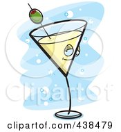Royalty Free RF Clipart Illustration Of A Yellow Martini Character Over Blue by Cory Thoman