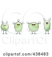 Royalty Free RF Clipart Illustration Of A Row Of Green Aliens by Cory Thoman