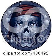 Royalty Free RF Clipart Illustration Of A Dead Pirate Face Over A Circle