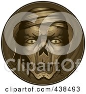 Royalty Free RF Clipart Illustration Of A Mummy Face Over A Circle by Cory Thoman