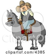 Cowboy Sitting On A Saddled Horse While Talking On A Cellphone Clipart