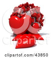 Clipart Illustration Of A World Covered In Red 3d Hearts