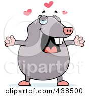Royalty Free RF Clipart Illustration Of A Loving Mole With Open Arms by Cory Thoman