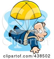 Royalty Free RF Clipart Illustration Of A Happy Man Parachuting