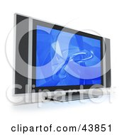 Clipart Illustration Of A Blue Screen Saver On A Flat Panel LCD Television With Built In Speakers