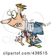 Royalty Free RF Clip Art Illustration Of A Clumsy Cartoon Businessman Tripping On His Own Tie by toonaday