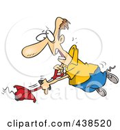 Royalty Free RF Clip Art Illustration Of A Cartoon Man Losing Control Of A Weed Wacker by toonaday