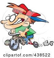 Cartoon Boy Riding His Trike
