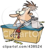 Exhausted Cartoon Businessman Leaning Over A Counter