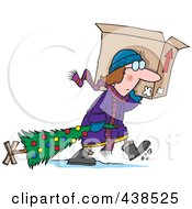 Royalty Free RF Clip Art Illustration Of A Cartoon Woman Carrying A Moving Box And Dragging Her Christmas Tree