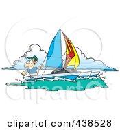 Cartoon Man Sailing A Trimaran