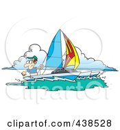 Royalty Free RF Clip Art Illustration Of A Cartoon Man Sailing A Trimaran by toonaday