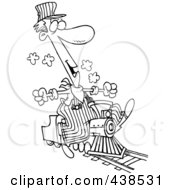 Royalty Free RF Clip Art Illustration Of A Cartoon Black And White Outline Design Of A Train Engineer Riding A Small Locomotive by toonaday