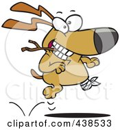Royalty Free RF Clip Art Illustration Of A Cartoon Three Legged Dog Playing Fetch