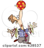 Royalty Free RF Clip Art Illustration Of A Trained Cartoon Businessman Spinning Rings On His Arms And Balancing A Ball On His Nose
