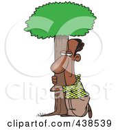 Royalty Free RF Clip Art Illustration Of A Cartoon Black Man Hugging A Tree by toonaday
