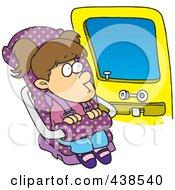 Cartoon Girl Sitting In Her Car Seat