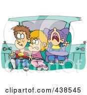 Cartoon Siblings Fighting In A Car On A Road Trip