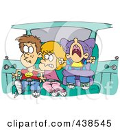 Royalty Free RF Clip Art Illustration Of Cartoon Siblings Fighting In A Car On A Road Trip by toonaday