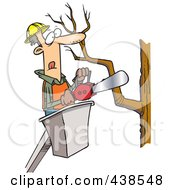 Royalty Free RF Clip Art Illustration Of A Cartoon Tree Trimmer Holding A Saw