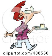 Royalty Free RF Clip Art Illustration Of A Cartoon Nurse Carrying A Tray Of Cafeteria Food