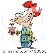 Royalty Free RF Clip Art Illustration Of A Pleased Cartoon Woman Showing Her Transplanted Plant by toonaday