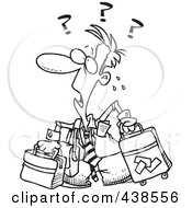 Royalty Free RF Clip Art Illustration Of A Cartoon Black And White Outline Design Of A Confused Businessman With Luggage by toonaday