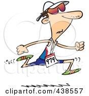 Cartoon Man Running In A Triathlon