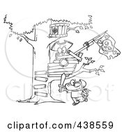 Royalty Free RF Clip Art Illustration Of A Cartoon Black And White Outline Design Of A Boy Playing Near His Pirate Tree House by Ron Leishman