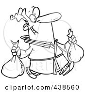 Royalty Free RF Clip Art Illustration Of A Cartoon Black And White Outline Design Of A Man Happily Taking Out Two Trash Bags