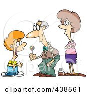 Royalty Free RF Clip Art Illustration Of A Cartoon Grandfather Giving Candy To His Grandson