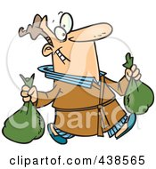 Royalty Free RF Clip Art Illustration Of A Cartoon Man Happily Taking Out Two Trash Bags by toonaday