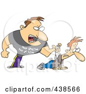 Royalty Free RF Clip Art Illustration Of A Cartoon Tough Trainer Making His Client Doing Pushups